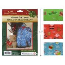 "Christmas Giant Plastic Gift Bag - 36"" x 44"" ~ 1 per pack"