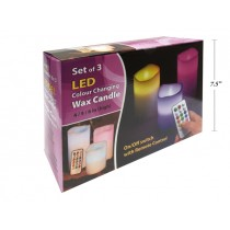 LED 18-Color Changing Wax Candle with Remote Control ~ Set of 3