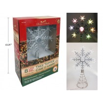 Christmas Battery Operated 8-LED Color Changing Snowflake Tree Topper ~ 11.5""