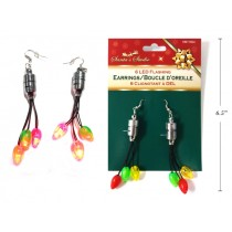 Christmas 6-LED Light-Up Flashing Lightbulb Earrings