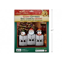 "Christmas Printed Metallic Giant Gift Bag with Die-Cut Paper Heads - 28"" x 36"" ~ 1 per pack"