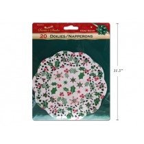 "Christmas Grease Proof Mistletoe Paper Doilies - 6.5"" ~ 20 per pack"