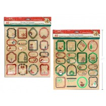 Christmas Kraft Foil Peel & Stick Gift Tags ~ 40 per pack