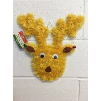 Christmas Tinsel Goggle Eye Reindeer Head with Jingle Bells