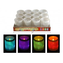 "Christmas LED Color Changing 3"" x 3"" Glitter Pillar Candle ~ 12 per display"