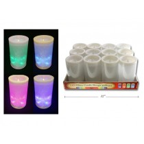 "Christmas LED Color Changing 3"" x 4"" Glitter Pillar Candle ~ 12 per display"