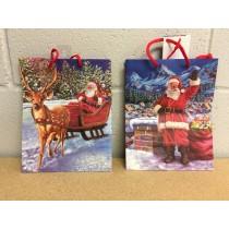Medium Christmas Gift Bag ~ Santa / Snowman