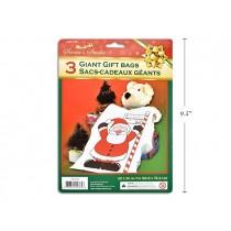 "Christmas Santa Plastic Gift Sacks - 20"" x 30"" ~ 3 per pack"