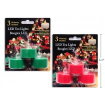 Christmas Flickering LED Tealight Candles - Red / Green ~ 3 per pack