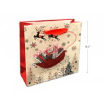 Christmas Small/Medium Gift Bag ~ Sants Sleigh with Glitter