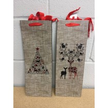 Bottle Christmas Gift Bag ~ Burlap Look