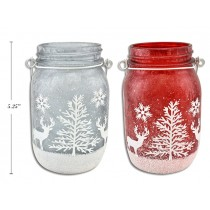 Christmas Iced Glitter Mason Jar Candle Holder