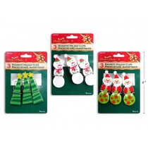 Christmas Printed Holiday Clips ~ 3 per pack