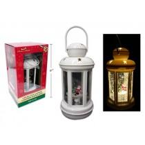 "Christmas LED Swirling Glitter Xmas White Lantern w/Santa ~ 7-7/8"""