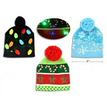 Christmas Adult Hat 6-LED Toque with Pom Pom ~ Battery Operated
