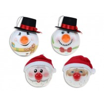 Christmas 80mm Blinking Nose Santa / Snowman Tree Oranments ~ 1 per pack