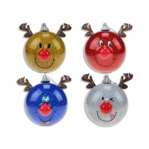 Christmas 80mm Blinking Nose Reindeer Tree Oranments ~ 1 per pack