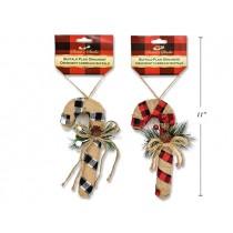 "Christmas Buffalo Plaid Candy Cane ~ 6-5/8"""