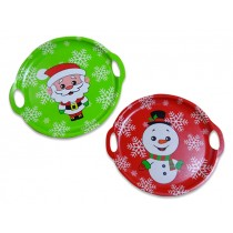 "Christmas Santa / Snowman Round Serving Tray with Handles ~ 14-5/8""D"