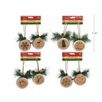 "Christmas Canning Jar Lid Ornaments with Cork - 7.25"" ~ 2 per pack"