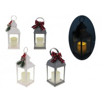 Christmas LED Flickering Pillar Candle Lantern ~ 9.5""