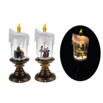 Christmas 3-LED Glitter Water Vortex Presin Xmas Scene Candle ~ 9.75""