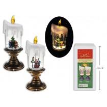 "Christmas 3-LED Glitter Water Vortex Presin Xmas Scene Candle ~ 9.75"""