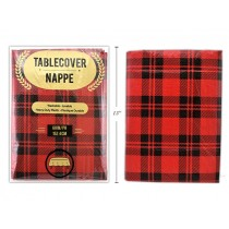 "Christmas Buffalo Plaid Flannel Back Tablecover ~ 60"" Round"