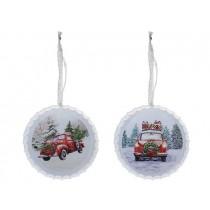 """Christmas Vintage Car Metal Bottle Cap Ornament ~ 4.25"""" Diameter"""