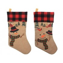 "Christmas Burlap Printed Embroidered Snowman Stocking with Buffalo Plaid Cuff ~ 18""L"