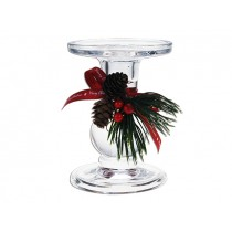 "Christmas Clear Taper/Straight Glass Candle Holder ~ 3-3/8"" Diameter"
