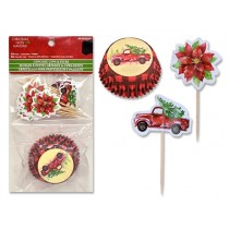 """Christmas Vintage Car Baking Cups with Picks - 2""""D ~ 24 per pack"""