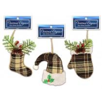 "Christmas Beige Corduroy Plaid Oranments ~ 5-1/8"""