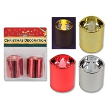 Christmas Metallic Flickering LED Votive Candles ~ 2 per pack