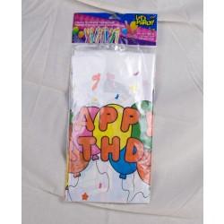 "Plastic Tablecloth - 54"" x 72"" ~ ""Happy Birthday"""