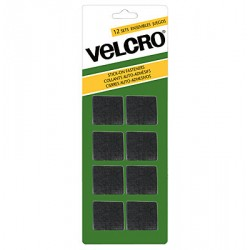 Velcro Stick On Fasteners - Squares ~ Black