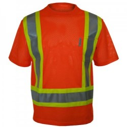 Mesh Short Sleeve High Visibility Orange T-shirt w/3M Reflective Stripes
