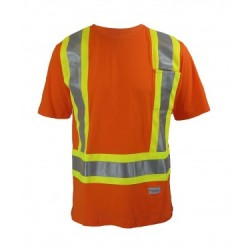Short Sleeve High Visibility Orange T-shirt w/3M Reflective Stripes