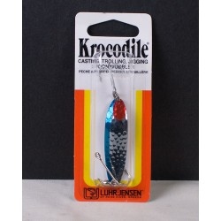 Krocodile Lure - 1/4oz ~ Hammered Chrome w/Neon Blue