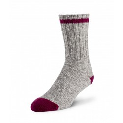 Cotton/Wool Sock - Grey / Dark Pink ~ Size Medium