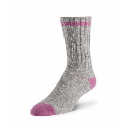 Cotton/Wool Sock - Grey / Light Pink ~ Size Medium