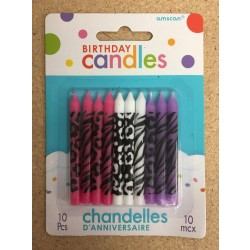 Birthday Candle - Animal Print ~ 10 per pack