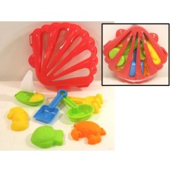 Beach Sand Set in Shell Shaped Carrying Case ~ 8 piece set
