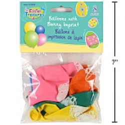 "Easter Balloons w/Bunny Prints - 10"" Round ~ 8 per pack"