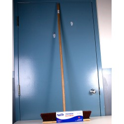 "Garage Push Broom w/Threaded Wooden Handle ~ 54"" Long"