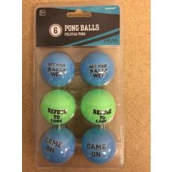 Pong Balls - Funny Sayings ~ 6 per pack