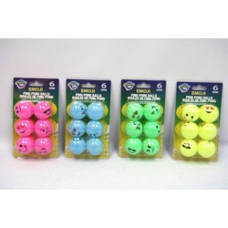 Ping Pong Balls - Emjoi Face Bright Colors ~ 6 per pack
