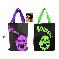 "Halloween Skull Design Non-Woven Trick or Treat Bags - 13"" x 16.5"" ~ 2 per pack"