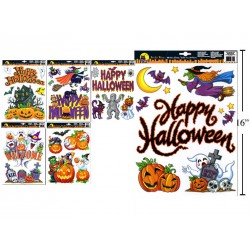 Halloween Glitter Window Clings ~ 6 assorted