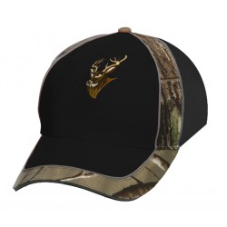 Black Cap w/Camo & Deer Embroidery
